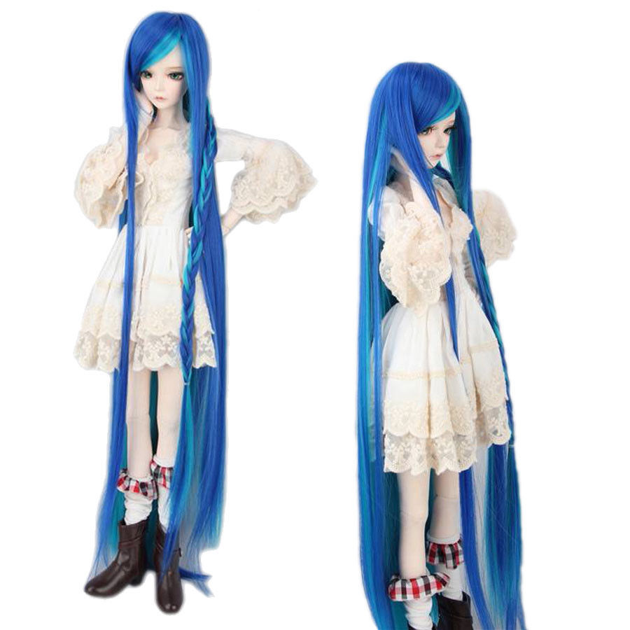 Blue & Green Pigtail Long Straight Wig For 1/3 SD AOD DZ BJD Dollfie 8-9 synthetic bjd wig long wavy wig hair for 1 3 24 60cm bjd sd dd luts doll dollfie cut fringe