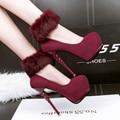 Zapatos rojos de la boda sexy zapatos de tacones altos mujer bombea la plataforma talones bombea los zapatos del partido de las mujeres zapatos de tacón bombas para mujer verde X290