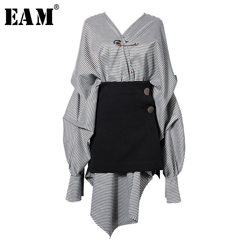 [EAM] 2019 New Spring  Summer V-collar Long Lantern Sleeve Black Plaid Stitch Irregular Two Piece Dress Women Fashion Tide JG892
