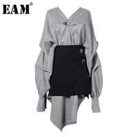 [EAM] 2019 New Spring Winter V collar Long Lantern Sleeve Black Plaid Stitch Irregular Two Piece Dress Women Fashion Tide JG892