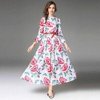 Zipipiyf High Quality Newest Fashion Runway Stand Collar Maxi Dress Women's Long Sleeve Retro Printed Designer Long Dress