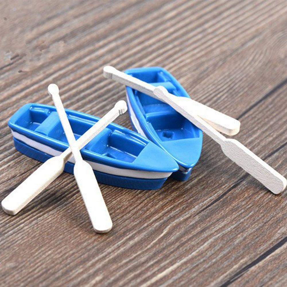 DIY 1Pc Boat 2pcs Oar Funny Model Toy Wooden Quant Resin Boat Miniatures Decor