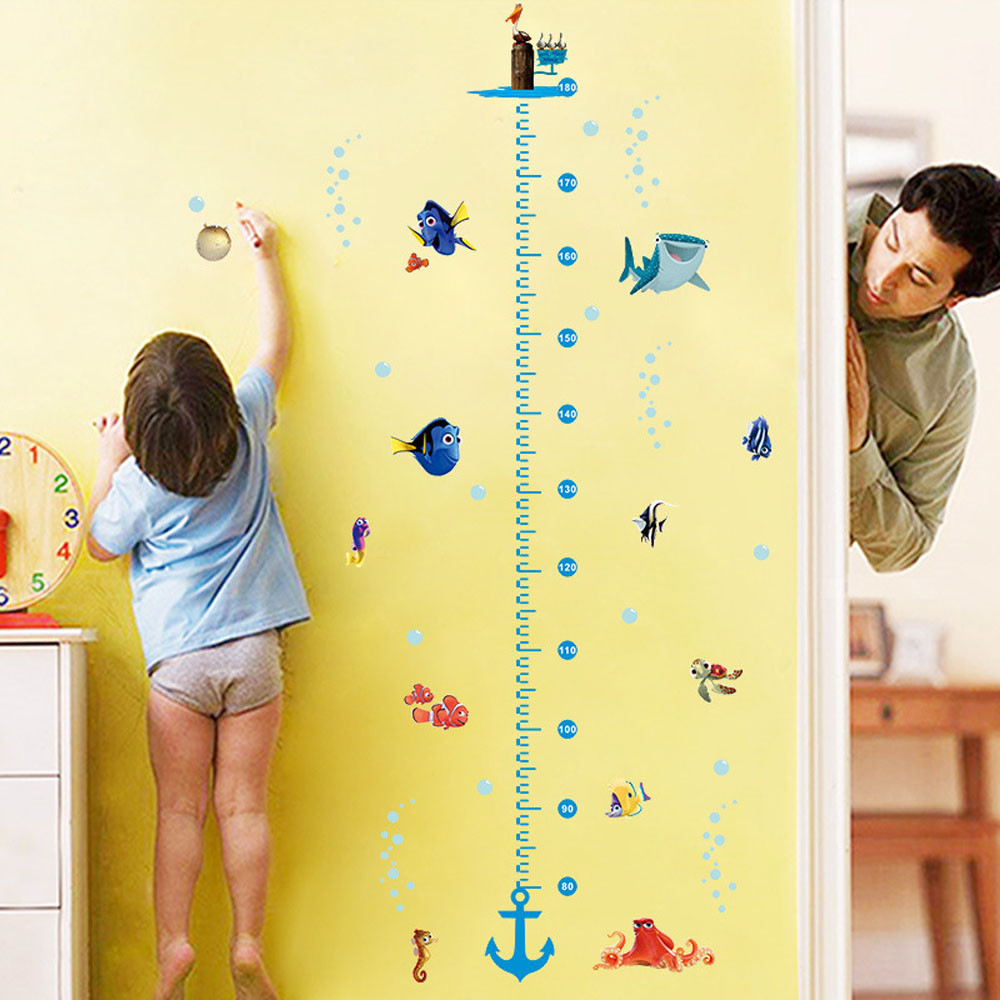 Kids Height Chart Wall Stickers Home Decor Cartoon Underwater Fish ...