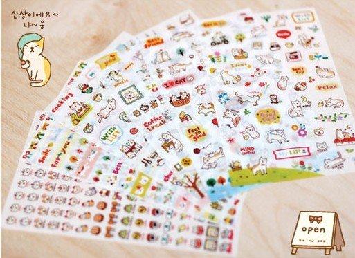 6pcs/set  Cute Cats PVC Sticker / Multifunction Cartoon DIY Sticker / Diary label / Sign post/ children stationery stickers