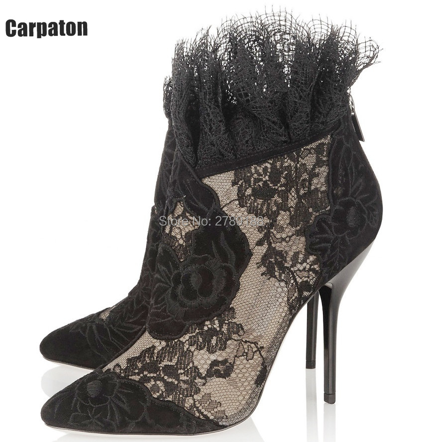 2017 Fashion Women Pointed Toe Booties Sexy Black Mesh Flower Lace Ankle Boots Back Zipper High Heels Boots Female Dress Shoes women fashion lace up cut out ankle boots sexy high heels black party shoes open toe short booties stiletto pumps zg938 73