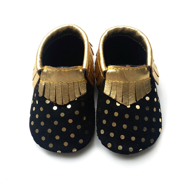 2016 New Gold Polka Dot Genuine Leather Baby Moccasins Shoes Baby Girls Boys Shoes Newborn First Walkers toddler Bebe Shoes
