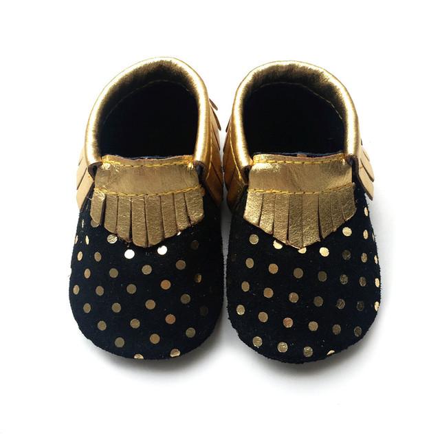 2016 Nueva Polka Dot Oro Genuino Mocasines De Cuero Del Bebé Zapatos de los Bebés Varones Zapatos Recién Nacidos Primeros Caminante Zapatos del niño Bebe