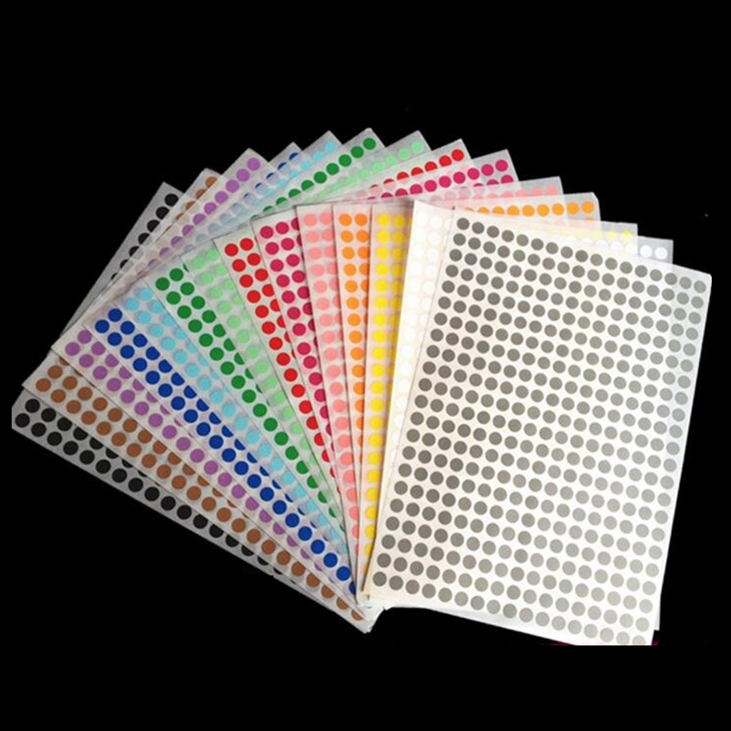 16 Sheets/Pack 6mm 8mm 10mm 13mm 16mm19mm 25mm Round Dot Color Label Self Adhesive Dot Sticker Office School Suppliers Mix Color