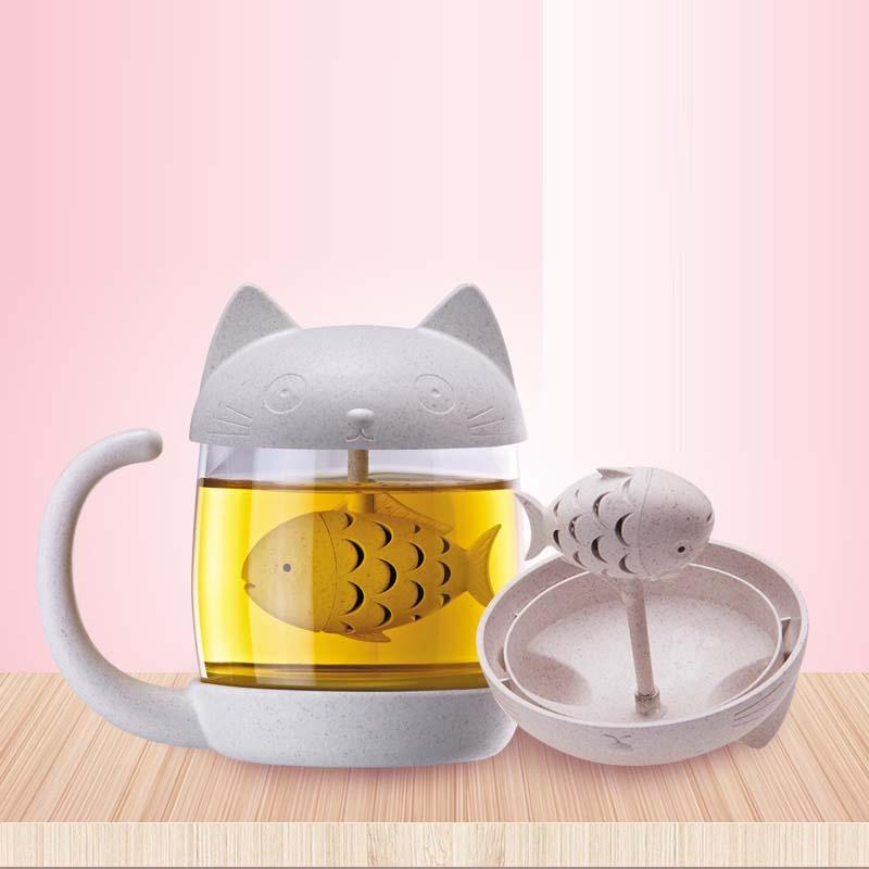 1pc Office tea Filter cups Anime cat monkey shape cup high temperature resistant Home Gifts Kitchen