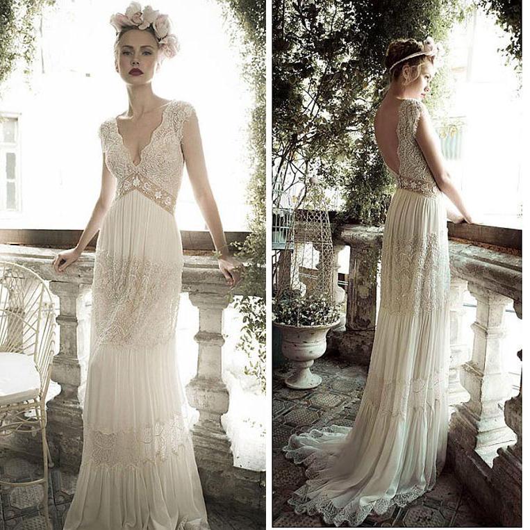 2016 Boho Wedding Dresses Lace Chiffon Wedding Gown
