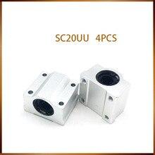 Linear แบริ่ง 4 pcs SC20UU SCS20UU 20mm Linear BALL BEARING สไลด์หน่วยเชิงเส้น 20 มม.แบริ่งสำหรับ DIY CNC Router Linear สไลด์