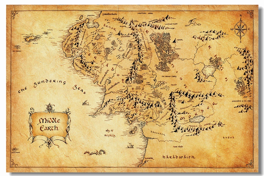 Custom Canvas Wall Decorations World Map Of Middle Earth