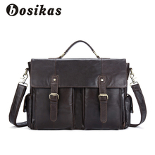BOSIKAS Men's Briefcases Bag Genuine Leather Crossbody Bags for Man Messenger Leather Laptop Bag Male Zipper Casual Flap Bags
