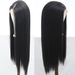 Image 5 - Bombshell Black Pink White Synthetic Lace Front Wig Glueless Straight Heat Resistant Fiber Hair Natural Hairline For Women Wigs