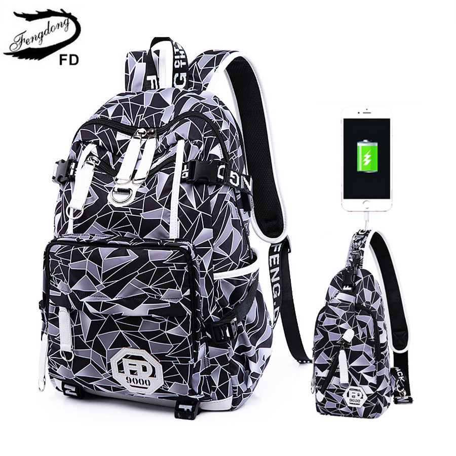 FengDong boys anti-theft backpack chest bag waterproof USB backpack for men travel bags male laptop bag school bags for boys ozuko men backpacks new design waterproof anti theft usb charge large travel bag 15 6 laptop backpack school bags for teenagers