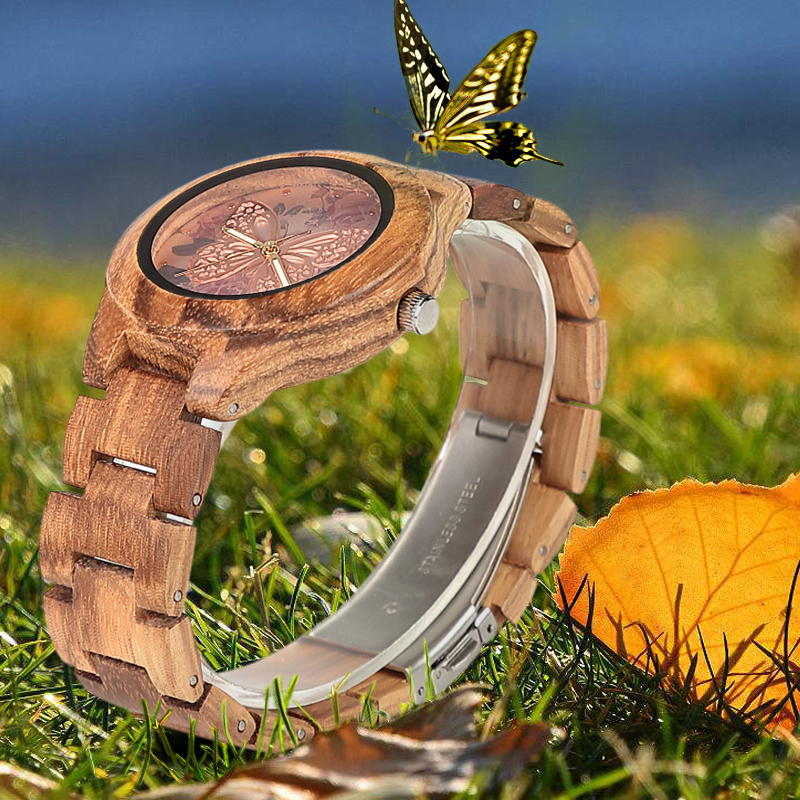 Image 2 - ELMERA wood watch women ladies watches women in Wristwatch Quartz Movement Wood Watch relogio femininoWomens Watches   -