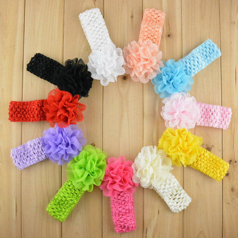 Promotion 10pcs/lot Chiffon Lace Flower Crochet Headband Girls Dress Up Head band 11 color FDA26 warkings reborn