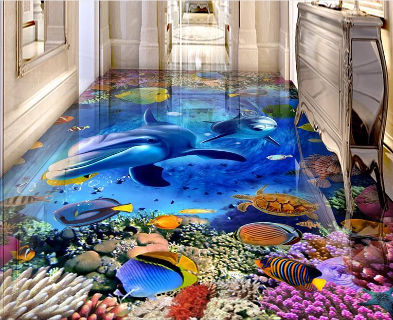Custom 3d impermeable piso insonorizadas dolphin marine 3d for Murales adhesivos