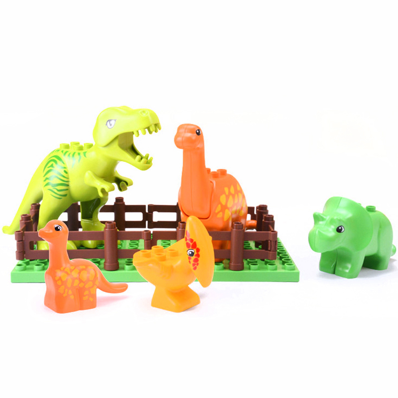 5Pcs-50pcs DIY Big Size Farm Dinosaur Animal Series Building Blocks Sets Bricks Compatible with Duploe Toys  for children  (1)