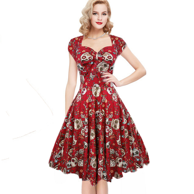 Summer dress elegant Vintage Red Ball Gown Skulls Flower print 50s rockabilly Evening Party large size Clothes fashion 2017