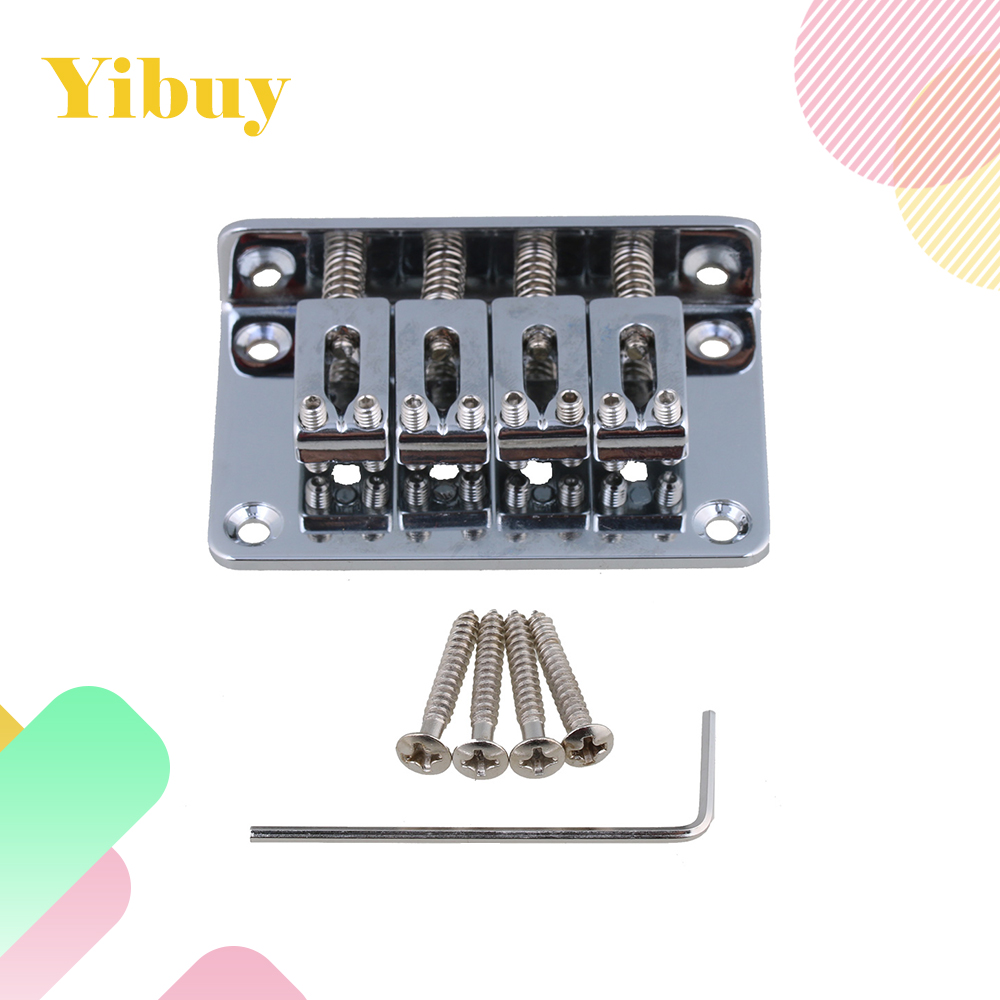 Yibuy Golden Zinc Alloy Guitar Bridge Tailpiece Bridge with Screws & Wrench for 4 String Uke & Cigar Box Guitar