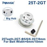 POWGE GT 25 зубов 2GT зубчатый шкив Диаметр 5/6/6,35/7 Plus/8 мм для GT2 зубчатый ремень высокое качество, бесплатная доставка шириной 6 мм/10 мм небольшой за...