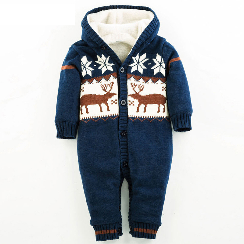 NEW Autumn and Winter Thick Climbing Clothes Newborn Boys Girls Warm Cotton Romper Knitted Christmas Deer Hooded Outwear XL02