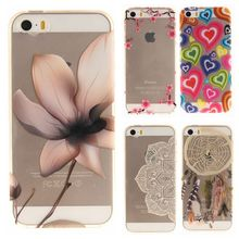 Soft TPU IMD Capa Case 4.0For Coque iphone SE 5 5G 5S case For Fundas Apple iphone 5 5s Flower Painting Clear Transparent Case(China)