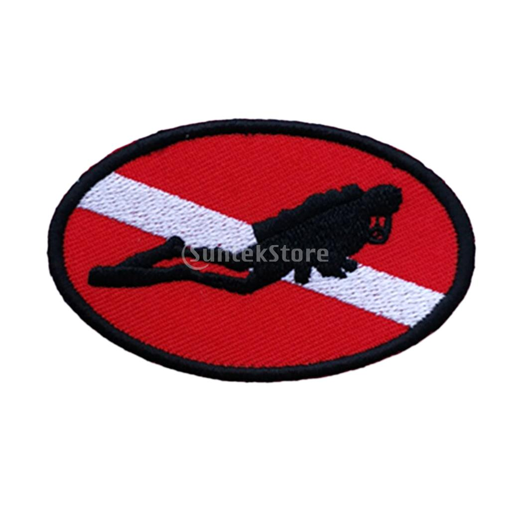 Ellipse 70 X 45mm Diver Down Flag Patch Patches Backpack Badge Scuba Diving Dive Iron On Embroidered Dive Flag Patch