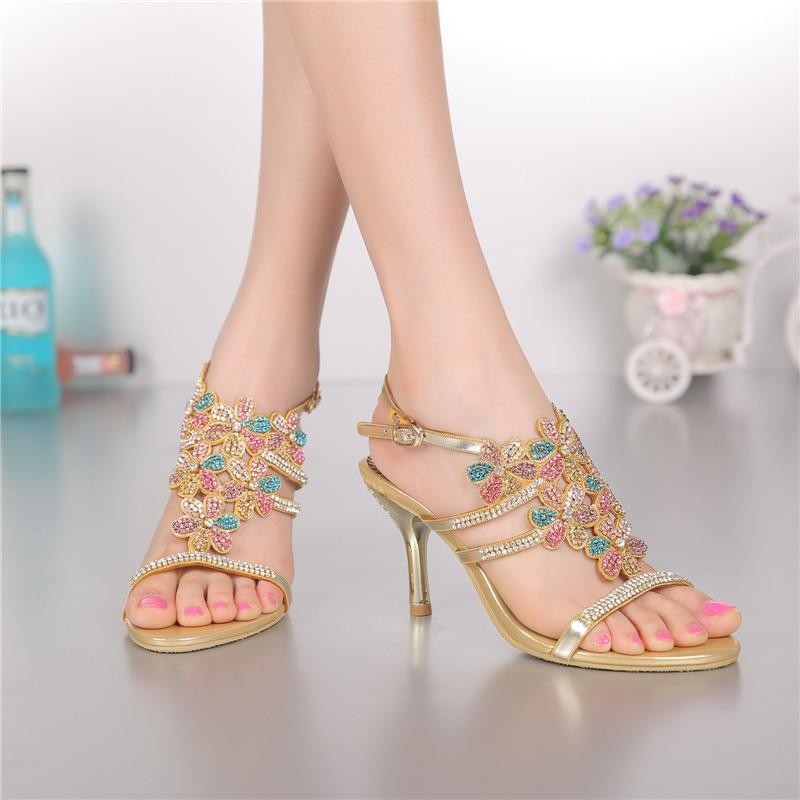 ФОТО Colorful Rhinestone Shoes High Heels Summer New Crystal Rhinestone Thin High-heeled Sandals Hollow Flowers Women Party Shoes