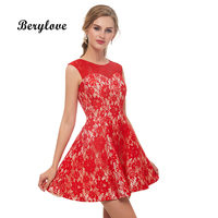 BeryLove Simple Short Red Lace Homecoming Dresses Junior Dresses Mini Homecoming Gowns 2018 Plus Size Graduation Dress For Party