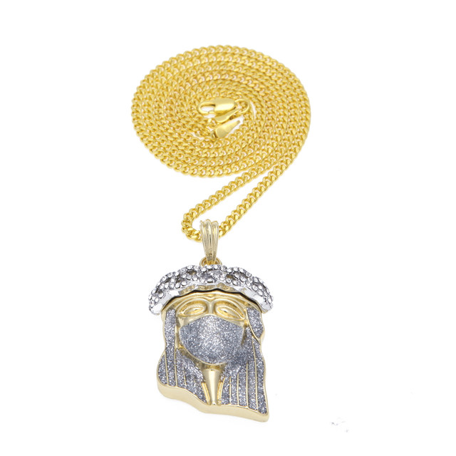 Online shop 2017 new hip hop gold color masked jesus face pendant 2017 new hip hop gold color masked jesus face pendant necklace crystal jesus piece jewelry with free 24 275 cuban chain aloadofball Image collections