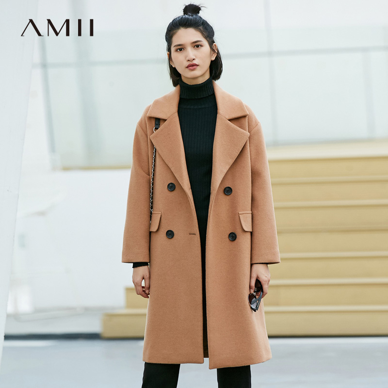 Amii Minimalist Double Breasted Woolen Coat Women Winter 2018 Causal Solid Turn down Collar Pockets Female
