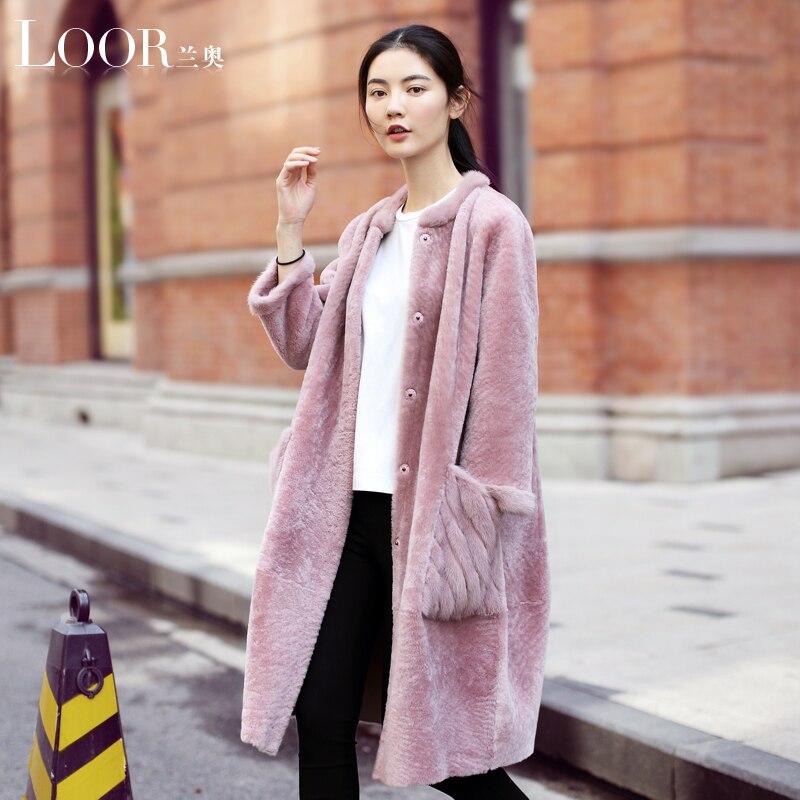 Rosa um mouton Casaco feminino casaco de pele de vison casaco de peles naturais casacos de inverno casacos de peles de couro das mulheres com pele jaqueta reversível