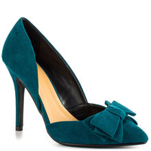 Ink Blue Stiletto Women Pumps With Bow High Heels Shoes Women Pointed Toe Simple Style Suede Woman Pumps Made-to-order Shoes