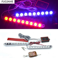 9 2 12LED Strobe Flash Light Daytime Running Light DRL Bumper Lamp With Wireless Remote Control