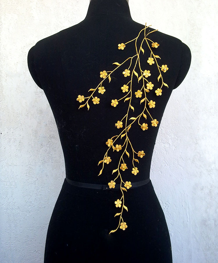 Plum flower applique lace embroidery patch shape Gold and silver embroidery  lace Iron stick on clothes decorated 2pcs   lot 780df3c975a7