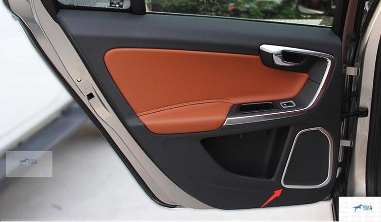 цена на accessories For Volvo S60L V60 S60 Stainless Steel Audio Speaker Cover Trim 4 pcs /set