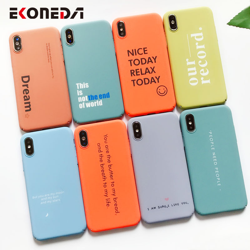EKONEDA Candy Colors Funny Words Case For iPhone 7 Case Hard Plastic Cases For iPhone X XS Max XR 6 6S 7 Plus 8 Plus Case