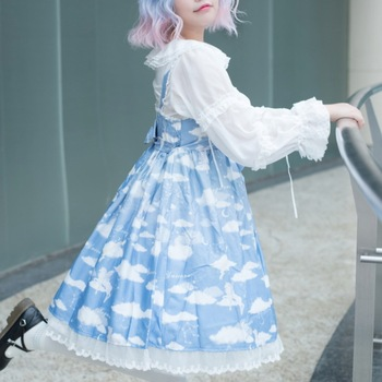 2019 Limited Of The Sea Of Clouds Printed Skirt With Shoulder-straps Jsk Soft Little White Cloud Lolita Dress Younger Sister