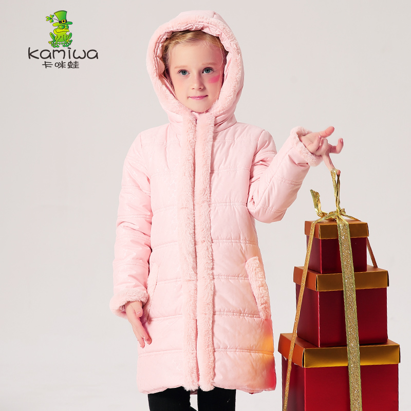 KAMIWA 2017 Wool like Collar Baby Girls Cotton padded Jackets Girls Winter Coats Clothing Thicken Brand