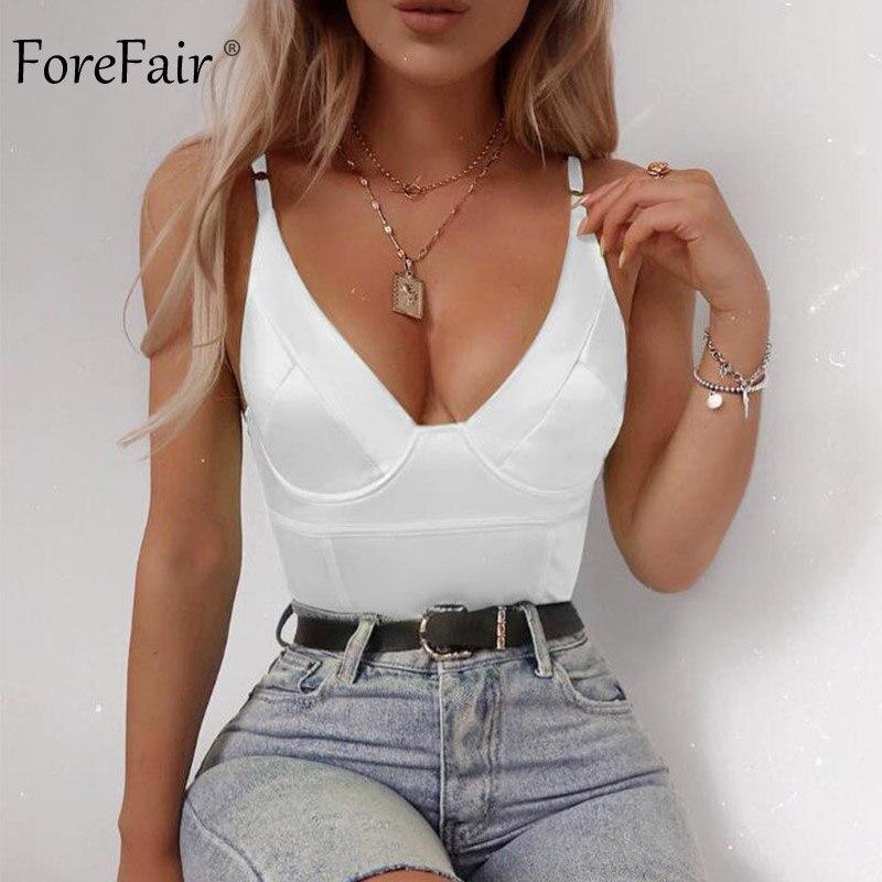 Forefair Body Women Tops Satin Sexy Bodycon Slip Spaghetti Strap Open Back Sleeveless Jumpsuit V Neck 2019 New Summer Bodysuit