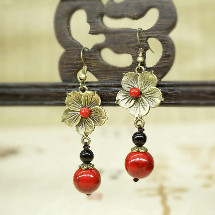 vintage ethnic flowers jewelry dangle earrings,fashion black stones vintage earrings,new nature stones ethnic earrings