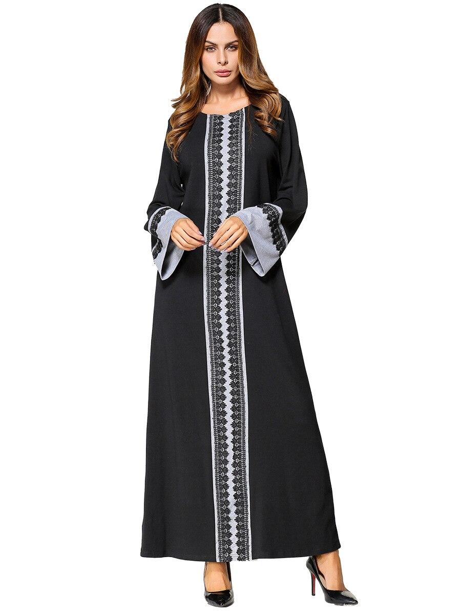 Moslemisches Abaya Frauen Maxi Kleid Spitze Baumwolle Langarm ...
