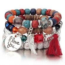 4 шт Boho крылья сердце Подвеска Шарм DIY бусины браслеты Набор для женщин Лава браслет с камнями браслет браслеты удивительная цена