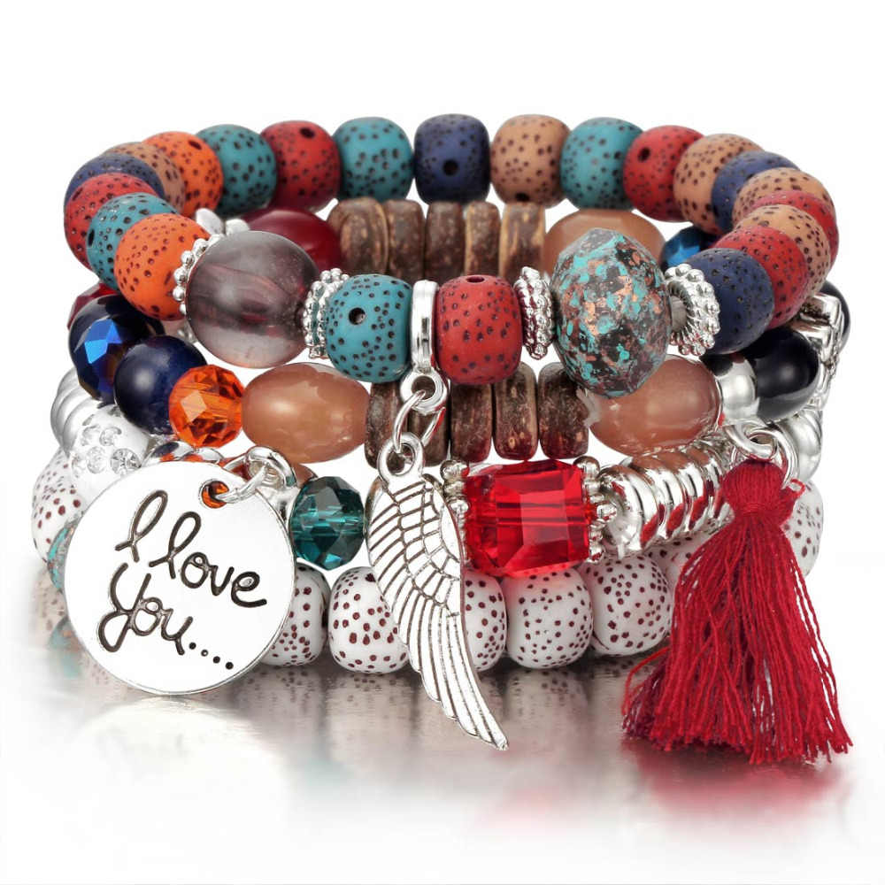 4pcs Boho ปีกหัวใจจี้ Charm DIY สร้อยข้อมือลูกปัดชุดสตรี LAVA หินสายรัดข้อมือกำไลข้อมือ Amazing ราคา