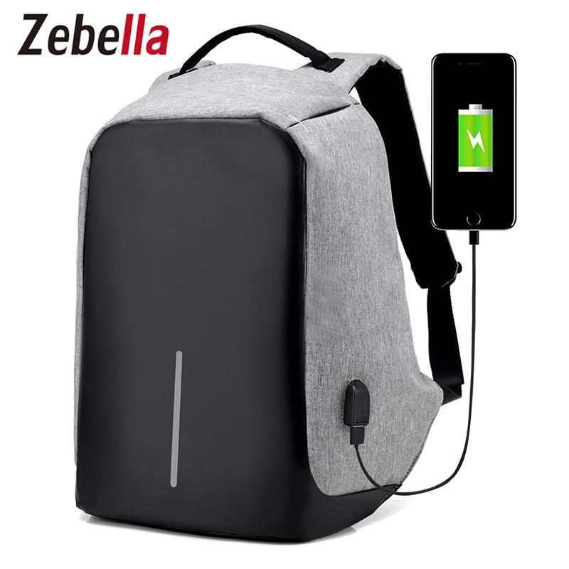 Zebella Для мужчин зарядка через USB Рюкзаки Anti-Theft мужской Дорожные сумки черный 15 «Бизнес ноутбука Bagpacks Mochilas Школьные ранцы