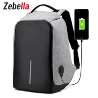 Zebella Fashion USB Charging Backpack Men Women Causal Travel Bag Large Capacity Anti Theft Shoulder Bags