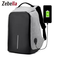 Zebella Fashion USB Charging Backpack Men Women Causal Travel Bag Large Capacity Anti Theft Shoulder Bags