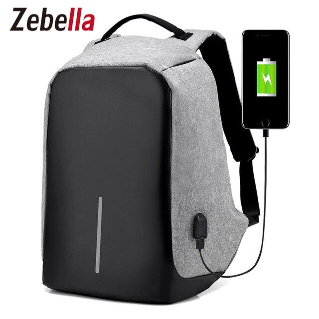 "Zebella Men USB Charging Backpacks Anti- theft Male Travel Bags Black 15"" Business Laptop Bagpacks Mochilas School Bags"